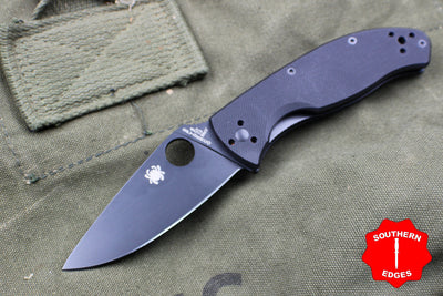 Spyderco Tenacious Drop Point Folding Knife Black Blade Black G-10 Handle C122GBBKP