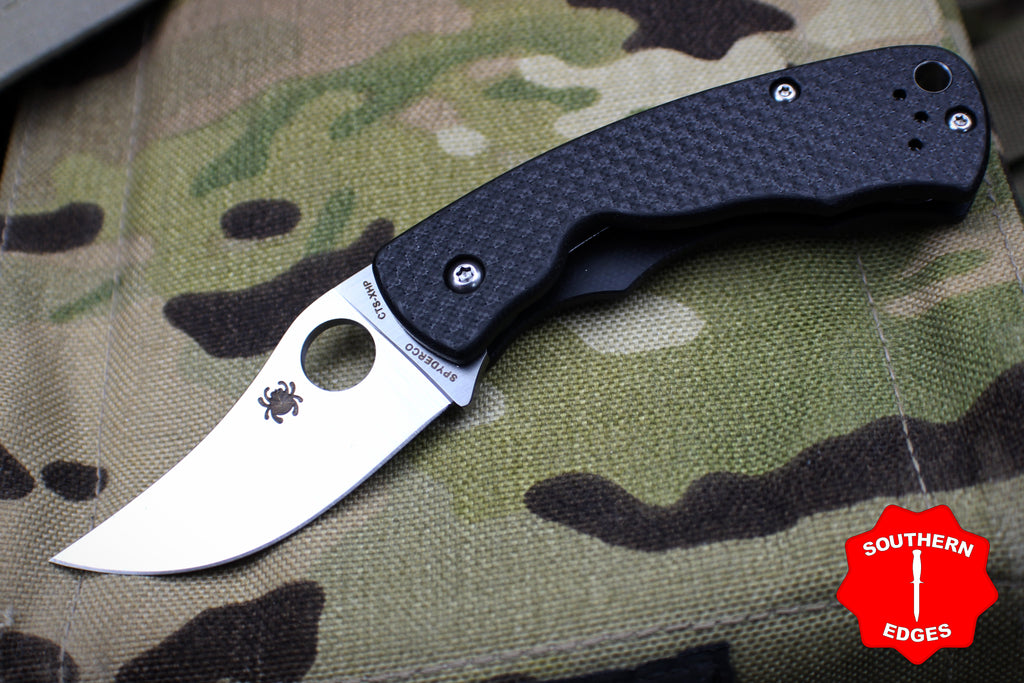 Spyderco Reinhold Rhino Carbon Fiber Handle Satin Flat Ground Compression Lock Knife C210CFP