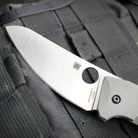 Spyderco SpydieChef Bead Blast Titanium Handle Satin Flat Ground Sheepsfoot Knife C211TIP