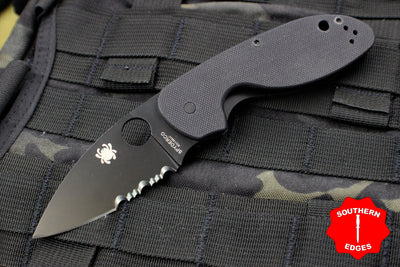 Spyderco Efficient Folder Black G-10 with Black 8Cr13MoV Part Serrated Blade C216GPSBBK