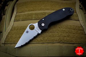 Spyderco Paramilitary 3 Black with Satin Full Serrated CPM S30V Steel Folder C223GS