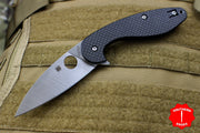 Spyderco Sliverax Satin Drop Point Flipper Knife Carbon Fiber Handle C228CFP