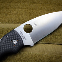 Spyderco Shaman Carbon Fiber Handle Satin Saber Ground S90V Steel Compression Lock Knife C229CFP