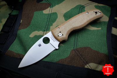 Spyderco Shaman Sprint Run Brown Canvas Micarta Handle Satin Drop Point CPM-Cru Wear Steel Compression Lock Knife C229MPCW