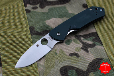 Spyderco Brouwer Green G-10 and Titanium Handle Satin Full Flat Ground Knife C232GTIP