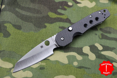 Spyderco Smock Flipper Carbon Fiber Handle Satin Hollow Ground Wharncliffe Button Lock C240CFP