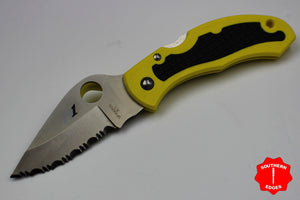 Spyderco Snap-it Yellow FRN Handle Satin Flat Ground Lockback Knife C26SYL