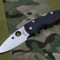 Spyderco Native Carbon Fiber Black Handle Satin Flat Ground Lockback Knife C41CFPE5