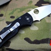 Spyderco Native 5 Black Handle Satin Flat Ground Lockback Knife C41PBK5
