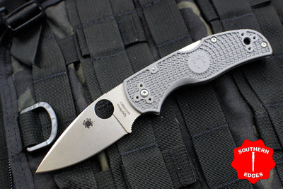Spyderco Native 5 Gray Handle Micro-melt Maxamet Satin Flat Ground Lockback Knife C41PGY5