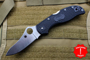 Spyderco Stretch Black Handle Satin Flat Ground Lockback Knife C90PBK2