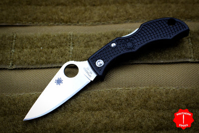 Spyderco Ladybug Black Handle Satin Lockback Knife LBKP3
