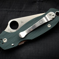 Spyderco Para 3 Folder Sprint Run Green Diamond Arc Texture with S45VN Satin Plain Edge C223GPFGR