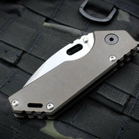 Strider AR .75 Folder Bronzed Titanium Handle Satin Drop Point Blade