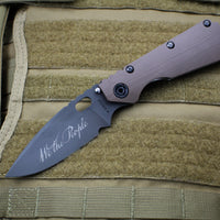 "Mick Strider SMF Folder Special ""We The People"" & Flag Graphic Titanium FDE Flat Dark Earth G-10"