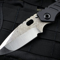 Mick Strider Custom SMF Folder Magma Textured Drop Point with Flamed Titanium Lock Side