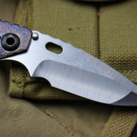 Mick Strider Custom SnG Drop Point Folder Purple Ano Dual Grind