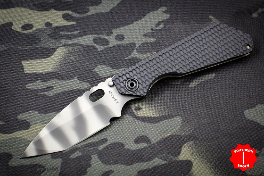 Strider SMF Folder Black Gunner Grip G-10 Tanto Edge Tiger Stripe