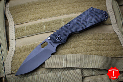 Strider Knives SnG 2020 LVCKS Black Crosshatch G-10 Handle PVD Drop Point Flamed Ti Lock Side