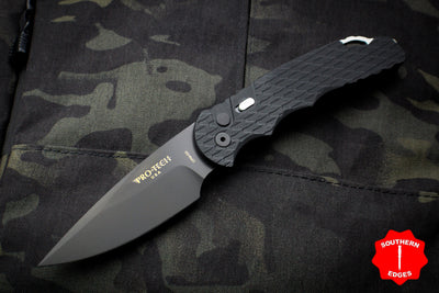 Protech Tactical Response 4 Black Handle Feather Texture safety Black DLC Standard Auto Knife TR-4.F3