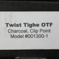 Twist Tighe LARGE Clip Point OTF Charcoal with Bead Blast/Satin Blade 1300-1 CH