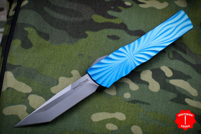 Twist Tighe LARGE Tanto Edge OTF Blue with Bead Blast/Satin Plain Edge Blade 1300-2