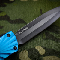 Twist Tighe LARGE Double Edge OTF Blue with Black Plain Edge Blade 1300-6