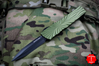 Twist Tighe LARGE Double Edge OTF OD Green with Black Plain Edge Blade 1300-6 OD