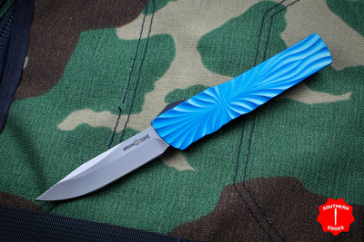 Twist Tighe SMALL Clip Point Edge OTF Blue with Two-Tone Beadblast Plain Edge Blade 1301-1 BL