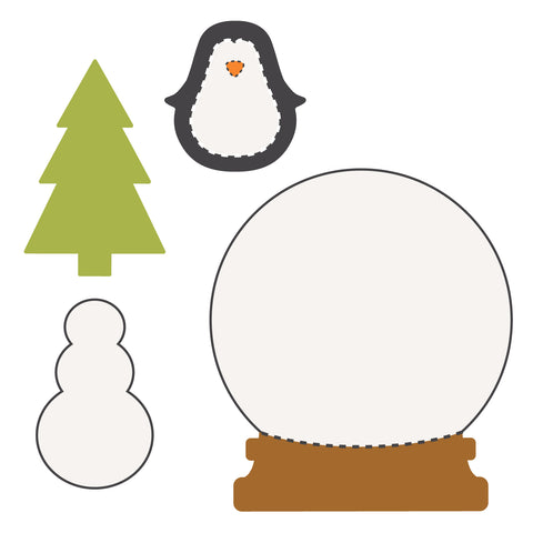 Snow Globe with Penguin, Tree, and Snowman