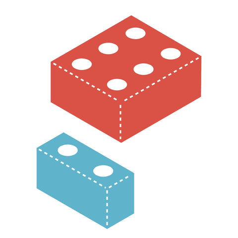 lego, 3-D block with holes