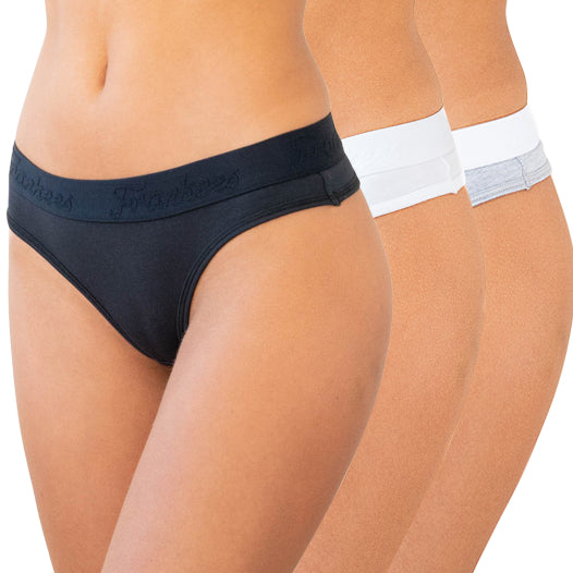 G String 3 pack - Black, White, Grey Melange