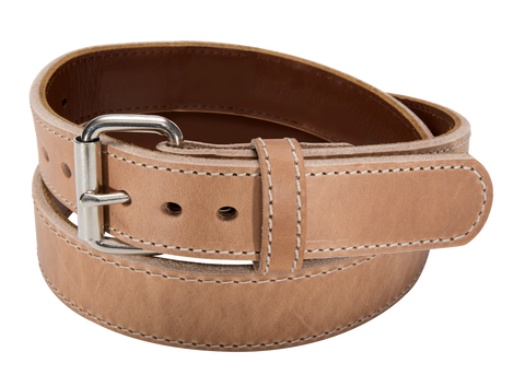 Natural Steel Core Full Grain Leather Gun Belt