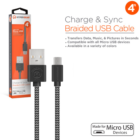 HyperGear Braided Micro USB 4ft. Charge & Sync Cable - Black / Grey