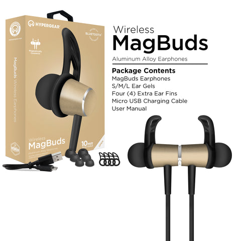 HyperGear MagBuds Wireless Aluminum Alloy Earphones - Gold
