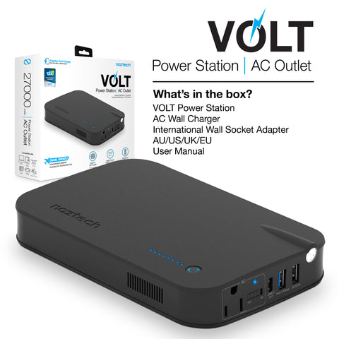 Naztech Volt 27000mAh AC+QC 3.0+USB-C Portable Charger Black
