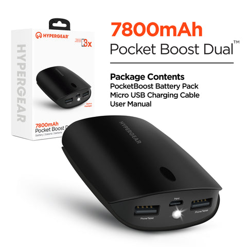 HyperGear Pocket Boost Dual 7800mAh Portable Battery Black