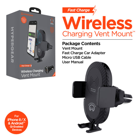 HyperGear Wireless Fast Charging 10W Vent Mount
