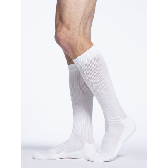 Sigvaris Cushioned Cotton Men's 20-30 mmHg Knee High, White