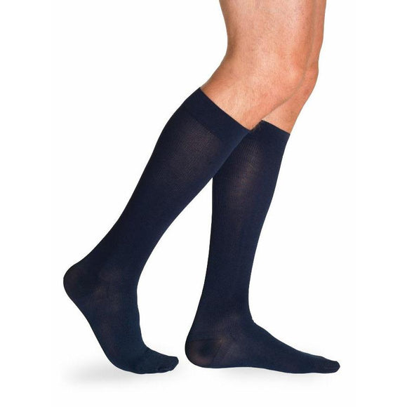 Sigvaris Cotton Men's 30-40 mmHg Knee High, Navy