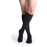 Sigvaris Cotton Men's 30-40 mmHg Knee High, Black