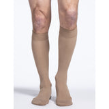 Sigvaris Cotton Men's 20-30 mmHg Knee w/ Silicone Band Grip Top, Light Beige (Crispa)
