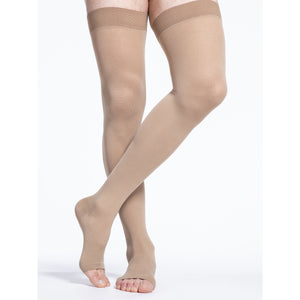 Sigvaris Cotton 30-40 mmHg OPEN TOE Thigh High, Light Beige (Crispa)