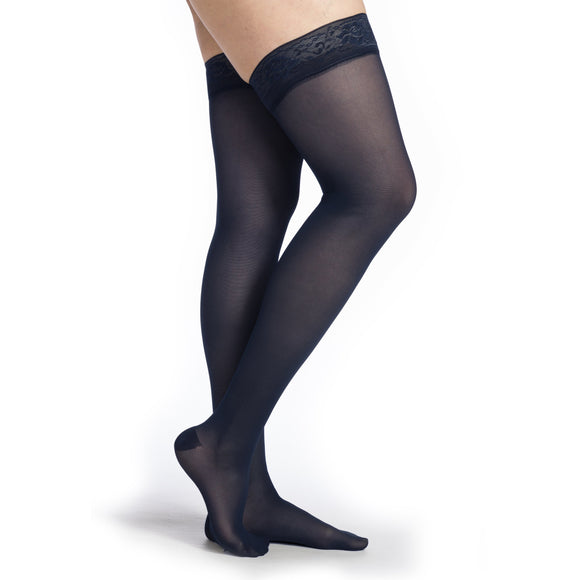 Sigvaris Medium Sheer Women's 20-30 mmHg Thigh High, Dark Navy