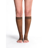 Sigvaris Sheer Women's 20-30 mmHg OPEN TOE Knee High, Mocha