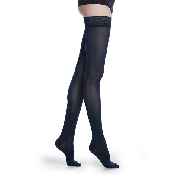 Sigvaris Soft Opaque Women's 15-20 mmHg Thigh High, Midnight Blue