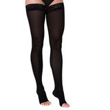 Sigvaris Soft Opaque Women's 15-20 mmHg OPEN TOE Thigh High, Black
