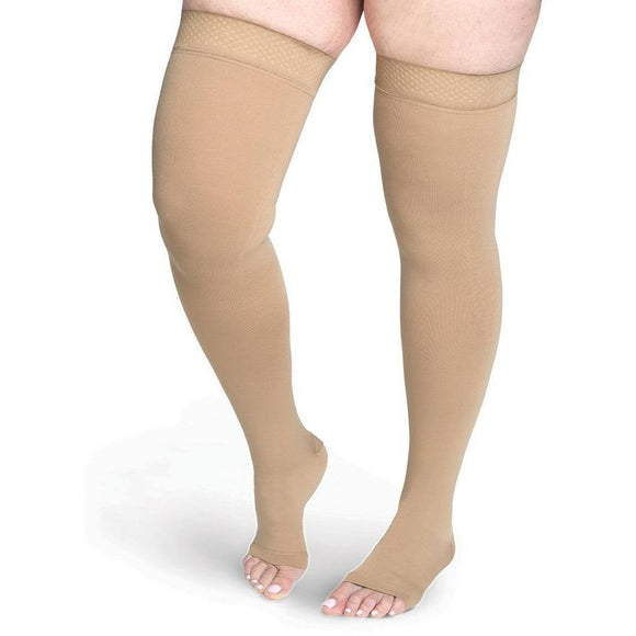 Sigvaris Secure 40-50 mmHg OPEN TOE Thigh High, Beige