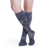 Sigvaris Microfiber Patterns Men's 20-30 mmHg Knee High, Graphite Argyle