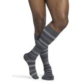 Sigvaris Microfiber Patterns Men's 20-30 mmHg Knee High, Mini Stripe Graphite